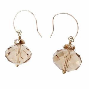 Stella & Dot Delicate Brown Crystal Drop Earrings